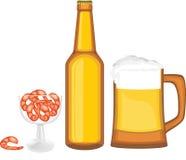 Cerveja com camarões Fotos de Stock Royalty Free
