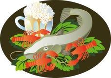 Cerveja com peixe-gato e lagostas ilustração do vetor