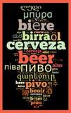 Cerveja da palavra em línguas diferentes Fotos de Stock Royalty Free