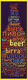 Cerveja da palavra em línguas diferentes Fotografia de Stock