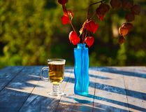Cerveja de vidro no fundo de madeira Physalis Fotos de Stock
