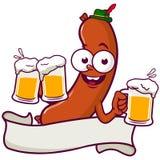 Cerveja do serviço da salsicha dos desenhos animados Fotos de Stock Royalty Free