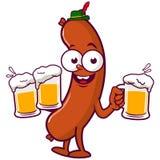 Cerveja do serviço da salsicha dos desenhos animados Fotografia de Stock Royalty Free