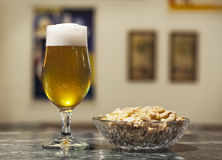 Cerveja e amendoins Foto de Stock Royalty Free