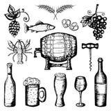 Cerveja e de grupo, de cerveja e de vinho do vinho símbolos Fotografia de Stock Royalty Free