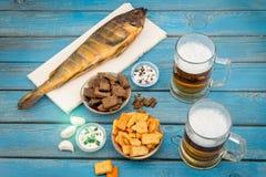 Cerveja e peixes Fotografia de Stock Royalty Free