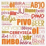 CERVEJA em línguas diferentes do mundo Imagens de Stock