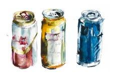 Cerveja em umas latas festival Ilustração do alvorecer da mão da aquarela ilustração royalty free