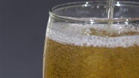 A cerveja extrema do close-up borbulha em um vidro ao ser derramado Espuma que desliza abaixo do lado do vidro de cerveja Feche a video estoque