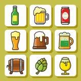 Cerveja icons_1 Foto de Stock Royalty Free