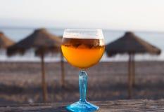 Cerveja na praia Imagem de Stock