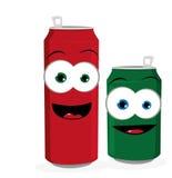 Cerveja ou latas de soda engraçadas ilustração stock