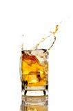Cerveja que espirra em um fundo reflexivo branco Imagens de Stock Royalty Free