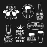 A cerveja relacionou o grupo da tipografia Ilustração da rotulação do vintage do vetor Fotos de Stock Royalty Free