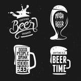 A cerveja relacionou o grupo da tipografia Ilustração da rotulação do vintage do vetor Foto de Stock Royalty Free