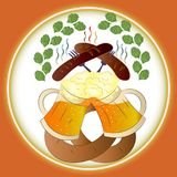Cerveja, salsichas e pretzel de Oktoberfest do festival da cerveja ilustração stock