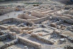 Cerveja Sheba do telefone, cerveja Sheva, local arqueológico de Beersheva, ruínas da cidade antiga, Israel, deserto do Negev imagens de stock