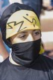 Cerveja-Sheva, ISRAEL - 5 de março de 2015: Retrato de uma menina em um vestido preto - hijab - Purim do leste Foto de Stock Royalty Free