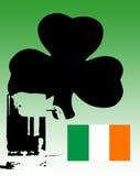 Cerveja verde irlandesa com Shamrock e bandeira Fotos de Stock Royalty Free
