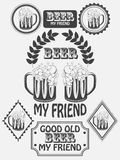 A cervejaria da cerveja do ofício do vintage simboliza, etiquetas e elementos do projeto Cerveja meu melhor amigo Vetor Fotos de Stock Royalty Free