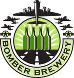 Cervejaria da garrafa de cerveja do bombardeiro B-17 pesado retro Imagens de Stock Royalty Free