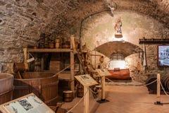 Cervejaria de Hictoric do castelo de Stara Lubovna imagem de stock royalty free