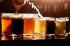 Cervejas sortidos para provar imagens de stock