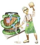 Cervejeiro com um barril, festival da cerveja de Oktoberfest, aquarela Fotografia de Stock Royalty Free