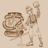 Cervejeiro com um barril, festival da cerveja de Oktoberfest, vetor Imagem de Stock