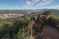 Cervelló. Panorama from the ruins of Cervelló`s castle. In Baix Llobregat country, near Barcelona, Catalonia, Spain Royalty Free Stock Photos