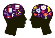 Cervelli dell'uomo e della donna - concetto di pensiero Fotografia Stock Libera da Diritti
