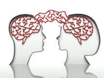Cervelli della donna e dell'uomo, concetto della comunicazione Fotografia Stock