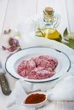 Cervelli ed ingredienti dell'agnello per la cottura loro fotografie stock libere da diritti