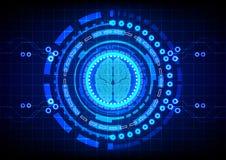 Cervello astratto con il fondo di progettazione di massima di tecnologia del cerchio illustrazione vettoriale