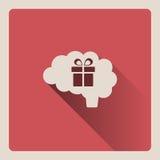 Cervello che pensa ad un'illustrazione del regalo su fondo rosso con ombra Fotografia Stock Libera da Diritti