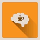 Cervello che pensa ad un'illustrazione della tazza di caffè su fondo giallo con ombra Fotografia Stock Libera da Diritti