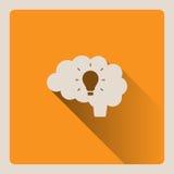 Cervello che pensa ad un'illustrazione di idea su fondo giallo con ombra Immagine Stock Libera da Diritti