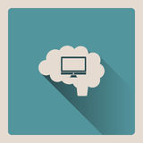 Cervello che pensa all'illustrazione del computer su fondo blu con ombra Fotografia Stock Libera da Diritti