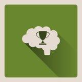 Cervello che pensa all'illustrazione di vittoria su fondo verde con ombra Fotografia Stock