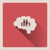 Cervello che pensa nell'illustrazione della famiglia su fondo rosso con ombra Immagine Stock Libera da Diritti