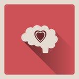 Cervello che pensa nell'illustrazione di amore su fondo rosso con ombra Immagini Stock