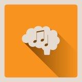 Cervello che pensa nell'illustrazione di musica su fondo giallo con ombra Fotografie Stock