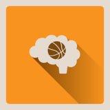 Cervello che pensa nell'illustrazione di pallacanestro su fondo giallo con ombra Immagine Stock Libera da Diritti