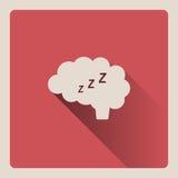 Cervello che pensa nell'illustrazione di sonno su fondo rosso con ombra Fotografia Stock