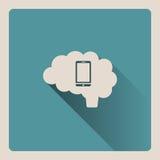 Cervello che pensa sull'illustrazione dello smartphone su fondo blu con ombra Fotografia Stock