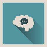 Cervello che pensa in un'illustrazione di conversazione su fondo blu con ombra Fotografia Stock