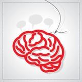 Cervello con l'etichetta Immagini Stock
