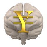 Cervello con la rappresentazione di simbolo 3d di Yen Fotografie Stock