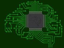 Cervello del microchip Fotografie Stock Libere da Diritti
