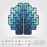 Cervello del poligono dai blocchetti di tetris con l'icona di affari illustrazione vettoriale